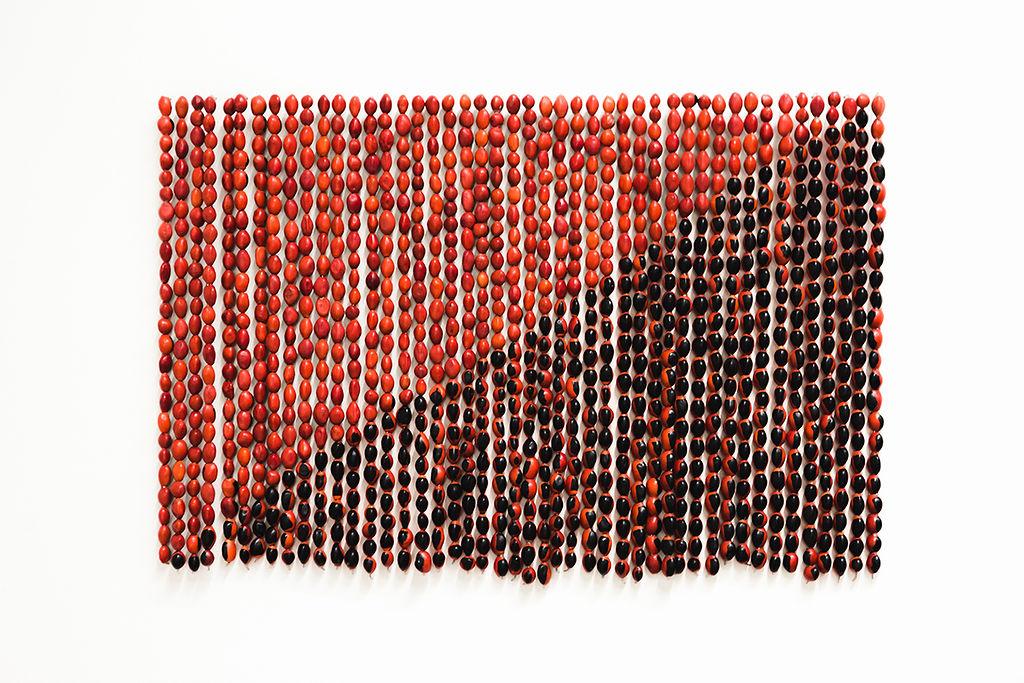4. Rometti Costales, Le drapeau de l'Anarquismo Mágico, 2013, Aube immédiate, vents tièdes, vue d'exposition, Mécènes du Sud Montpellier-Sète, 2019, image: Elise Ortiou Campion